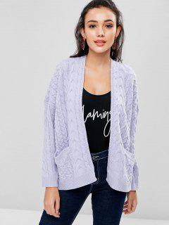 Cable Knit Cardigan - Gray L