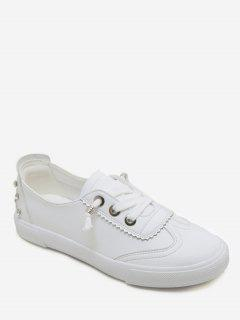 Stud Decorative PU Leather Sneakers - White 39