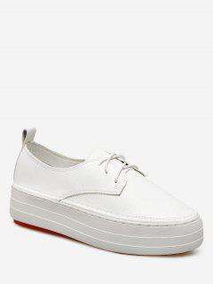 Lace Up PU Leather Sneakers - White 39
