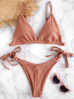 String Ribbed Bikini Set - Khaki Rose M