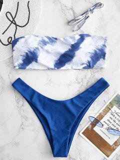 Printed Side Boning Bandeau Bikini Set - Blue Eyes L