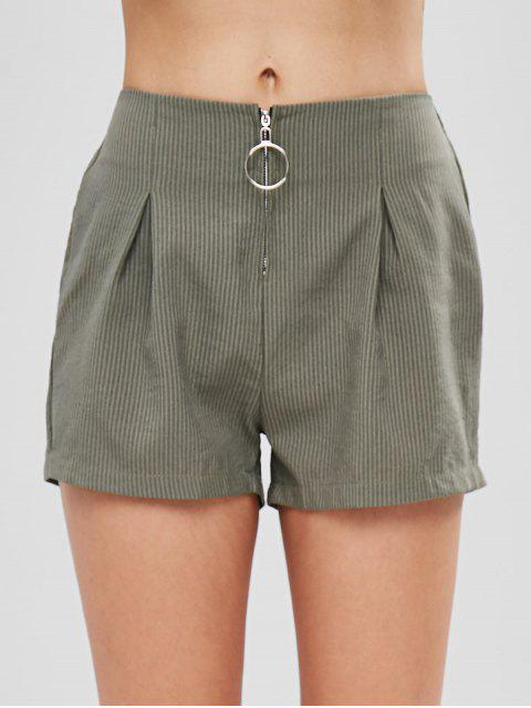 womens O Ring Zip Up Striped Shorts - HAZEL GREEN L Mobile