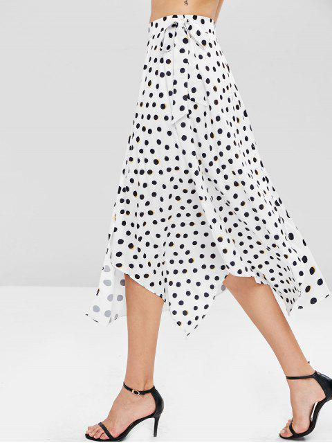 shops Polka Dot Asymmetrical Skirt - WHITE S Mobile
