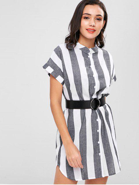 hot Striped Shirt Dress - MULTI L Mobile