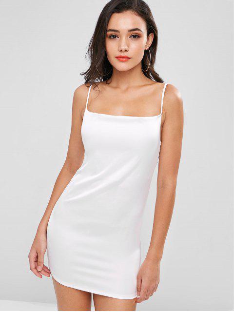 sale Plain Satin Slip Dress - WHITE 2XL Mobile