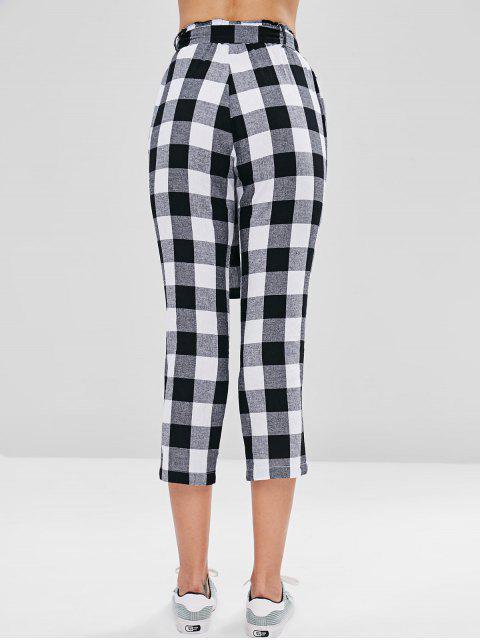 Pantalones capri con cinturón y cuadros - Multicolor S Mobile