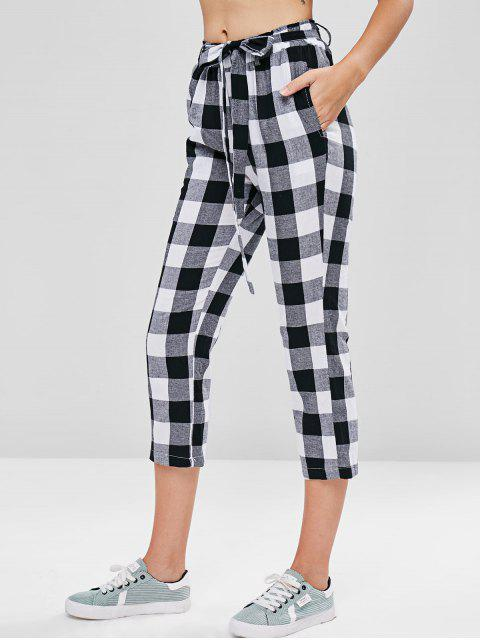 chic Plaid Belted Capri Pants - MULTI M Mobile