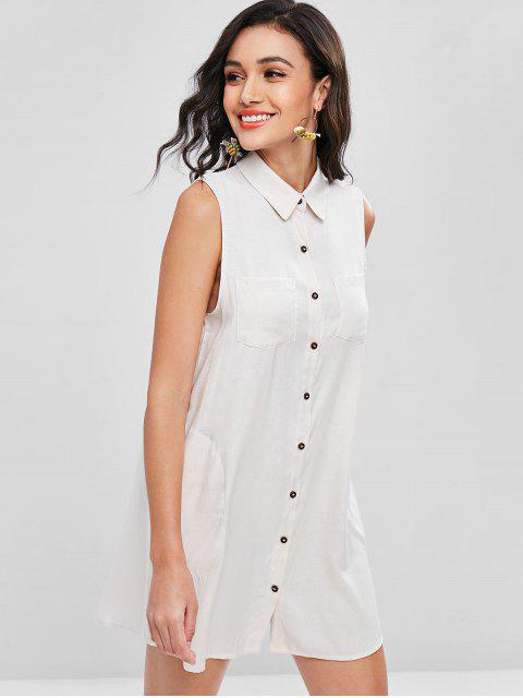 Knopf Oben Ärmelloses Taschen Kleid - Cremeweiß M Mobile