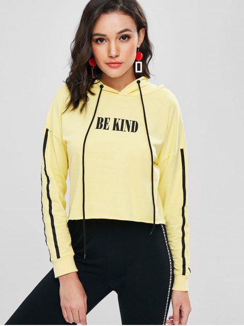 latest Letter Graphic Cropped Hoodie - CORN YELLOW M Mobile