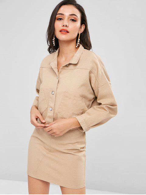 best Ripped Jacket and Skirt Set - LIGHT KHAKI L Mobile