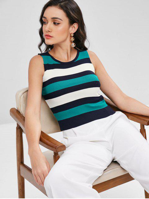 outfit Striped Contrast Tank Top - MACAW BLUE GREEN ONE SIZE Mobile