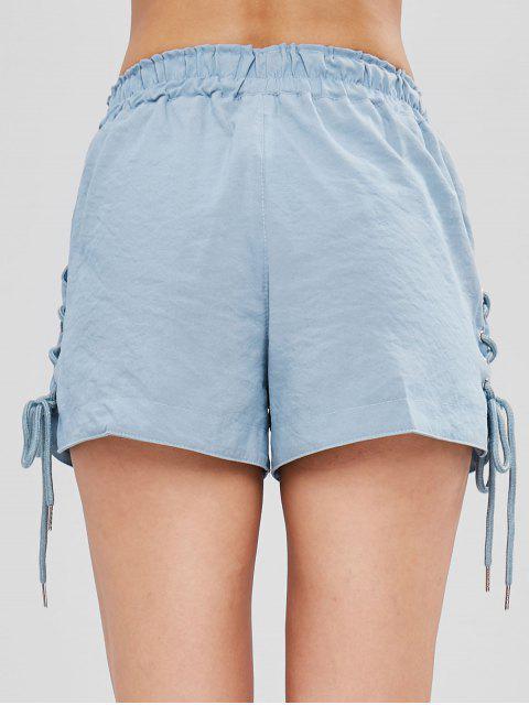 Short avec Poches à Taille Haute à Lacets - Bleu Bébé M Mobile