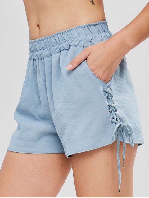 shops Pockets Lace Up High Waisted Shorts - BABY BLUE L Mobile