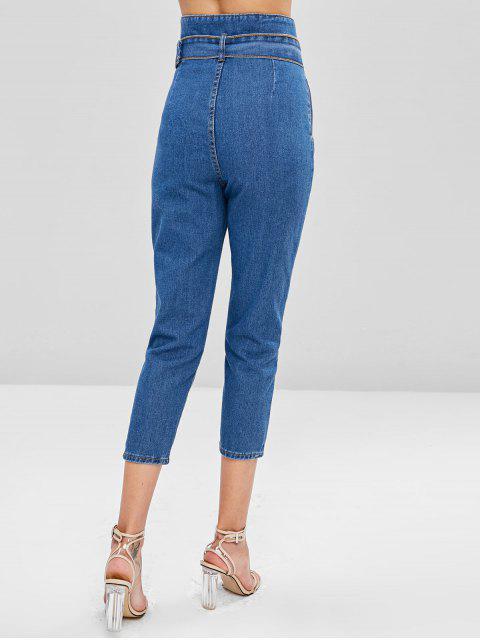 Jeans con cintura ceñida de talle alto - Azul Oscuro de Denim S Mobile