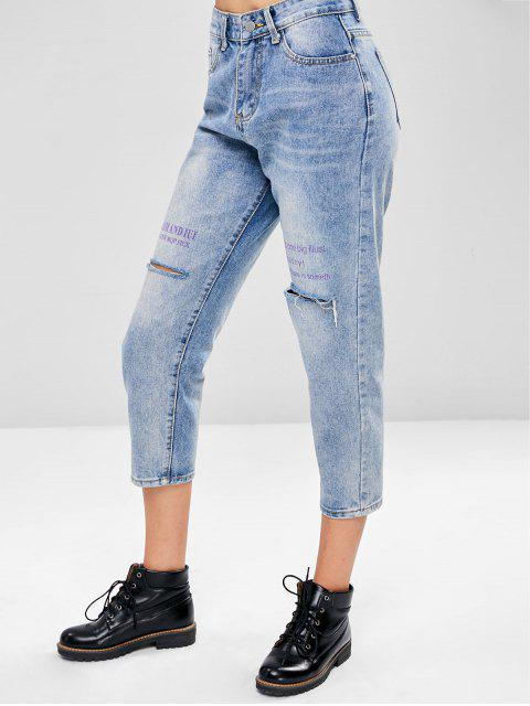 fancy Distressed Boyfriend Jeans - BABY BLUE S Mobile