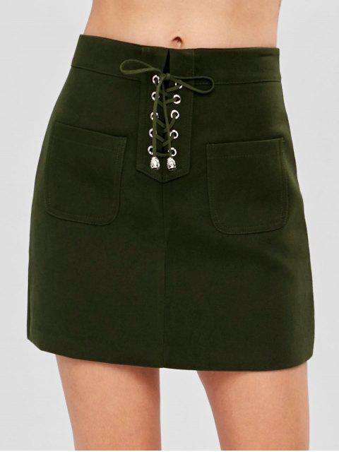 outfit Pocket Lace-up Mini Skirt - ARMY GREEN S Mobile