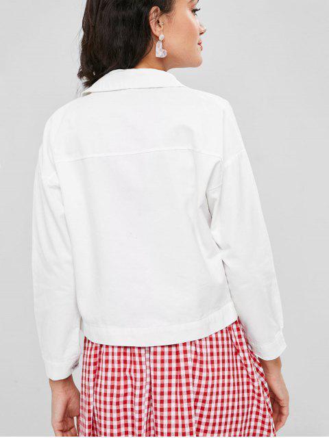 Veste Goutte Epaule avec Poche en Denim - Blanc M Mobile