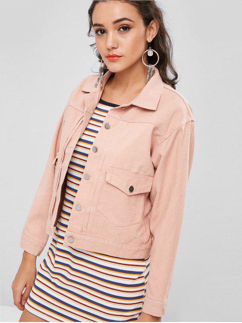 Denim Single Breasted Jacket - Rosa Naranja L Mobile