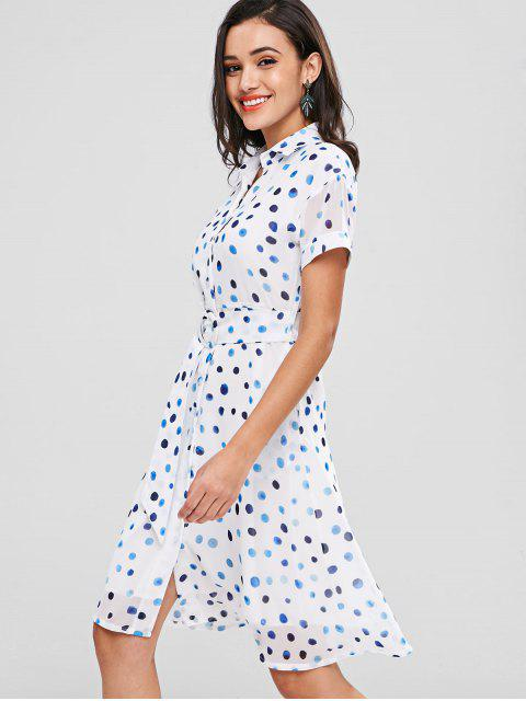 Robe Chemise à Pois - Blanc 2XL Mobile