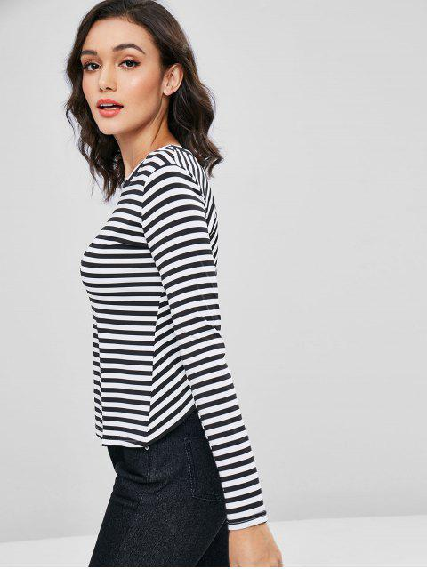 lady Crossover Back Striped Long Sleeve Tee - MULTI M Mobile