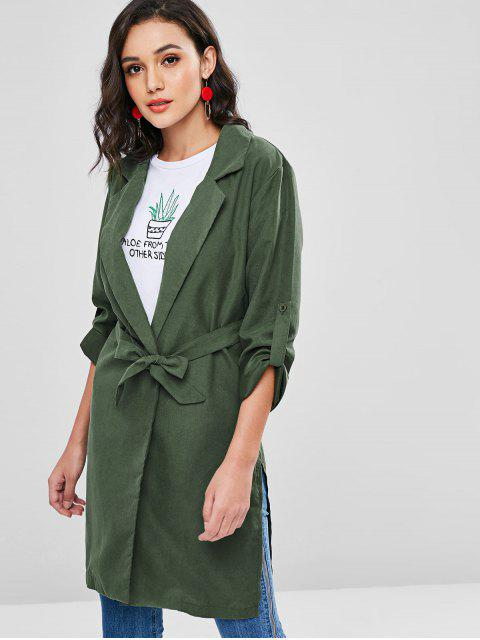 outfits Belted Longline Trench Coat - MEDIUM SEA GREEN M Mobile