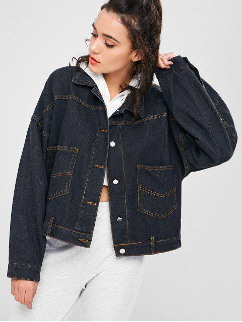 hot Back Slit Boyfriend Denim Jacket - JET BLACK M Mobile