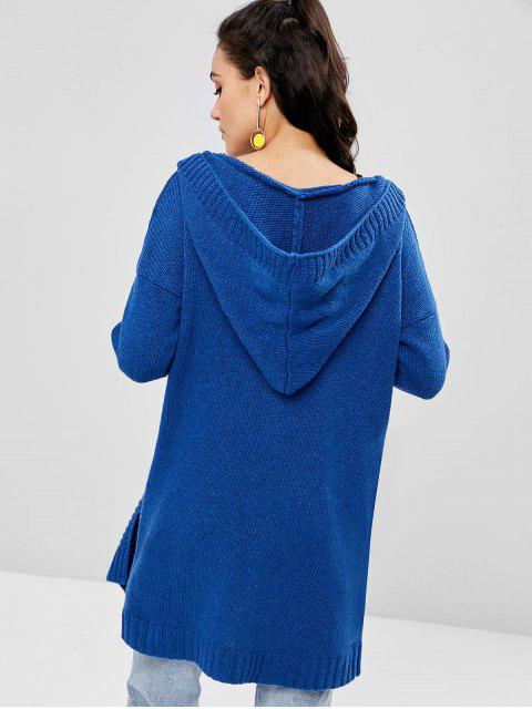 buy Patch Pocket Hooded Long Oversized Cardigan - BLUE ONE SIZE Mobile