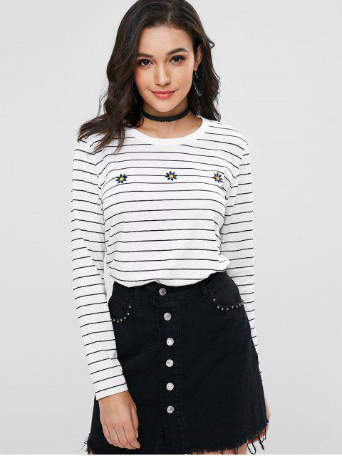 shops Stripes Embroidered Tee - WHITE S Mobile