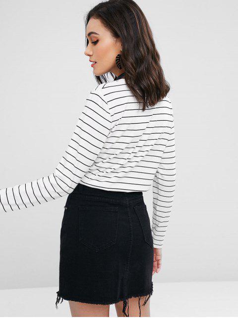 T-shirt Brodé à Rayure - Blanc L Mobile