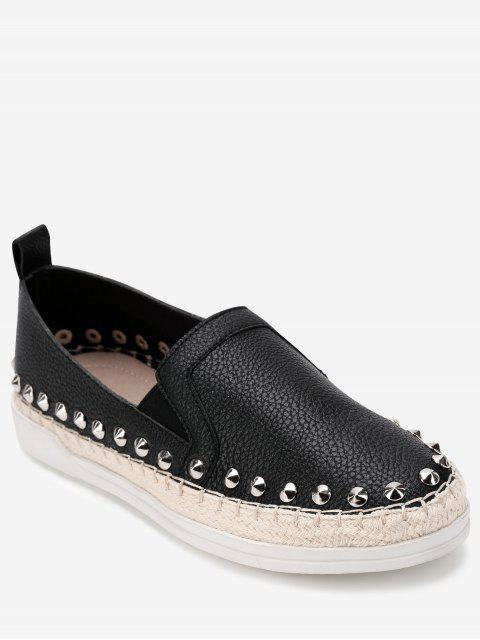 affordable Stud Decorative Espadrille Flat Sneakers - BLACK 38 Mobile