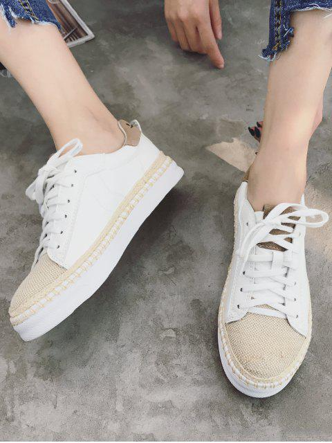 outfit Woven Straw Toe PU Leather Espadrille Sneakers - WHITE 38 Mobile
