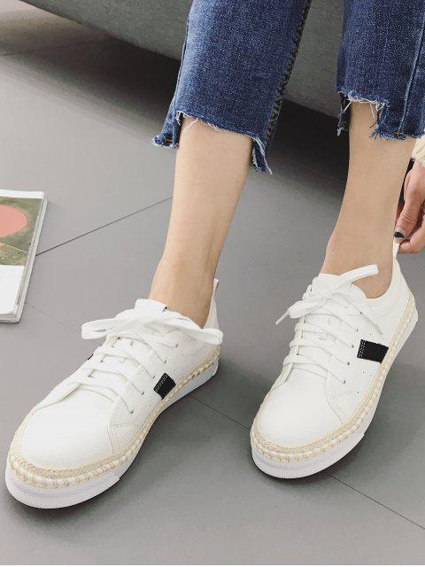 shop Stripe Detail PU Leather Espadrille Sneakers - WHITE 38 Mobile