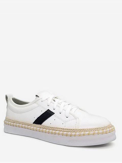 shop Stripe Decorative PU Leather Sneakers - WHITE 38 Mobile