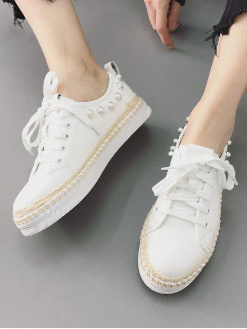 fancy Faux Pearl Decorative Low Top Espadrille Sneakers - WHITE 37 Mobile