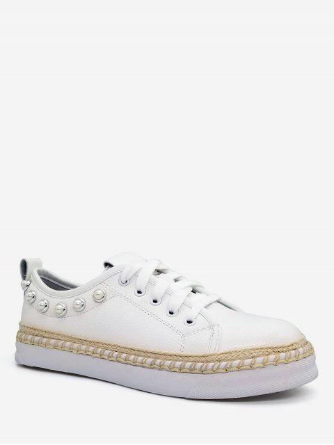 sale Faux Pearl Decorative Low Top Sneakers - WHITE 39 Mobile