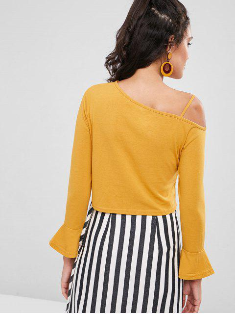 affordable Skew Collar Cold Shoulder Top - BEE YELLOW M Mobile