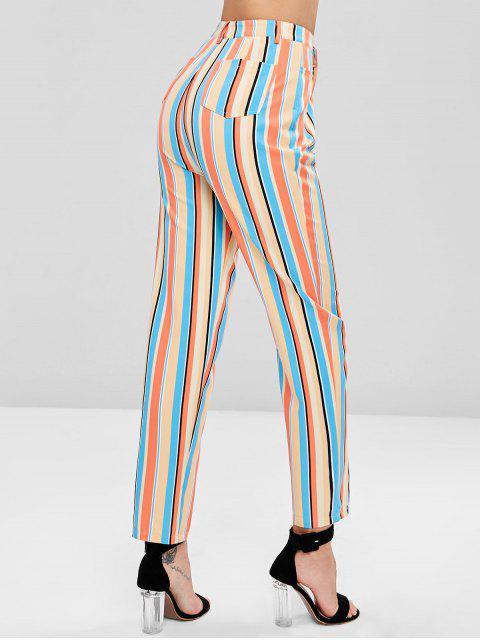 Pantalones rectos a rayas de talle alto - Multicolor L Mobile