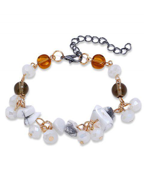 Bracelet Chaîne Perlé avec Gemme Artificielle - Blanc  Mobile