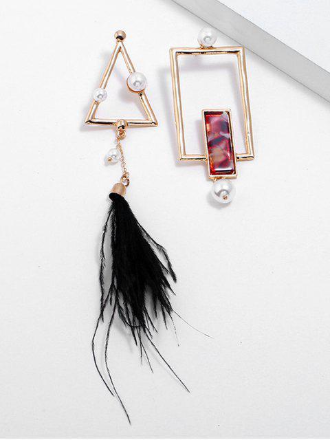 Pendientes de plumas de perlas artificiales de forma geométrica - Oro  Mobile