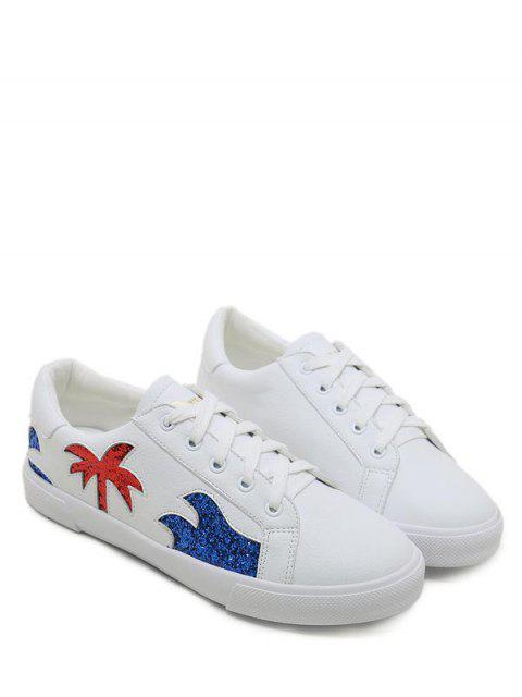 fashion Sequined Palm Tree Graphic Low Heel Sneakers - WHITE 37 Mobile