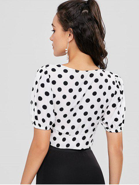 fancy Polka Dot Puff Sleeve Button Up Crop Top - MULTI M Mobile