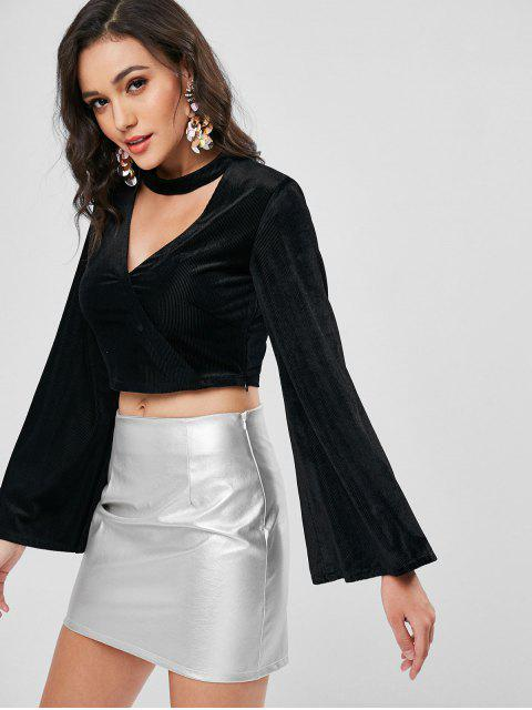 womens Flare Sleeve Corduroy Choker Crop Top - BLACK L Mobile