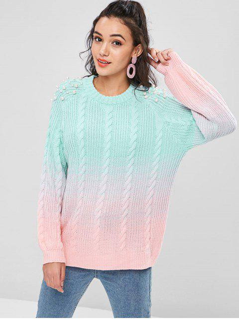 trendy Ombre Cable Knit Sweater - MULTI L Mobile