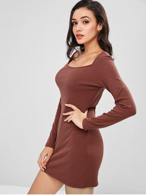 shops Plain Ribbed Mini Dress - DEEP COFFEE L Mobile
