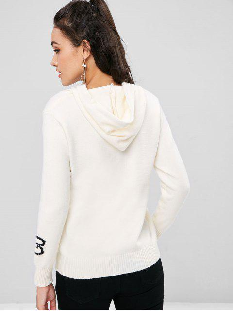 lady Hooded Drawstring Graphic Sweater - BEIGE ONE SIZE Mobile
