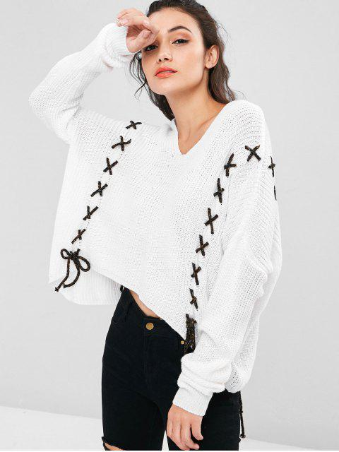 online Lace Up High Low Sweater - WHITE ONE SIZE Mobile