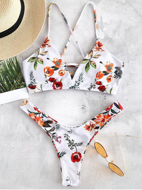 womens ZAFUL Flower Lace Up Bikini Set - WHITE M Mobile