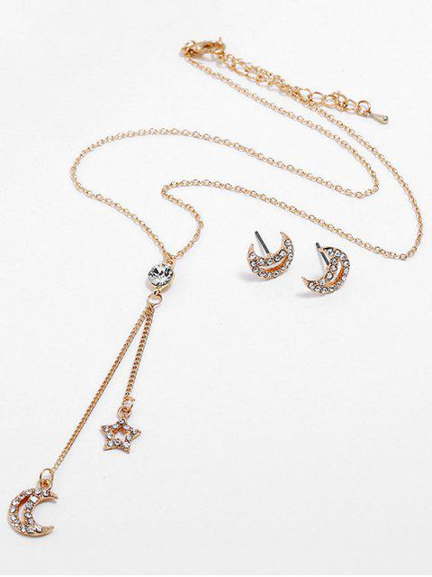 new Moon Star Design Pendant Chain Necklace Earrings Set - GOLD  Mobile