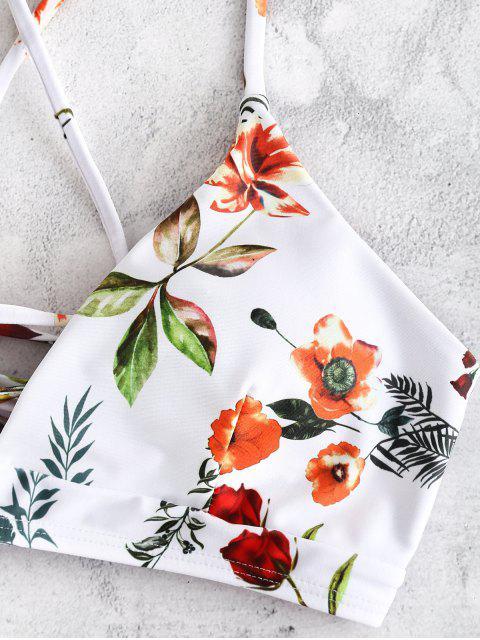 ZAFUL С цветочным принтом На шнуровке Бикини в сборе - Белый S Mobile