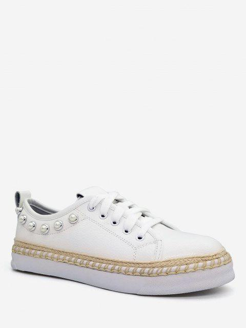 Faux Pérola decorativa Low Top Espadrille Sneakers - Branco 40 Mobile